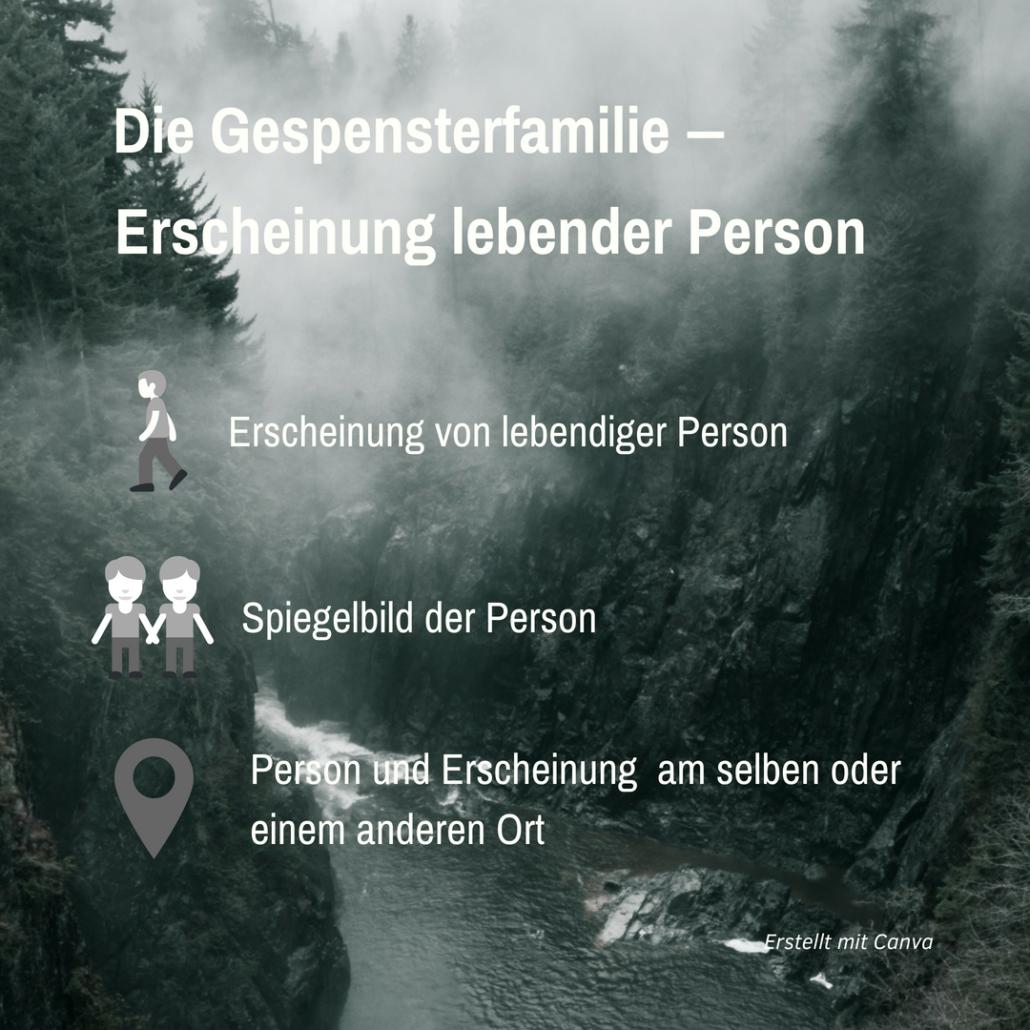 """Hintergrund: Schlucht im Nebel; Vordergrund: Schriftzug mit Symbolen zu Erscheinungen: """"Erscheinung lebender Personen"""""""