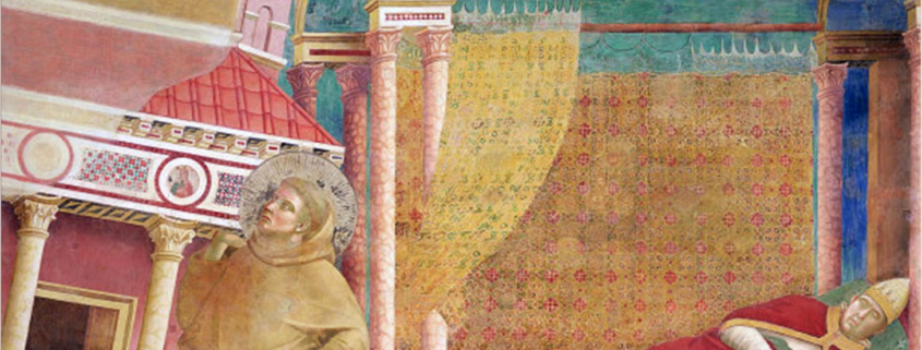 Papst Innozenz III. träumt von Franziskus, der die Kirche wieder aufrichtet [Quelle: wikimedia.com]