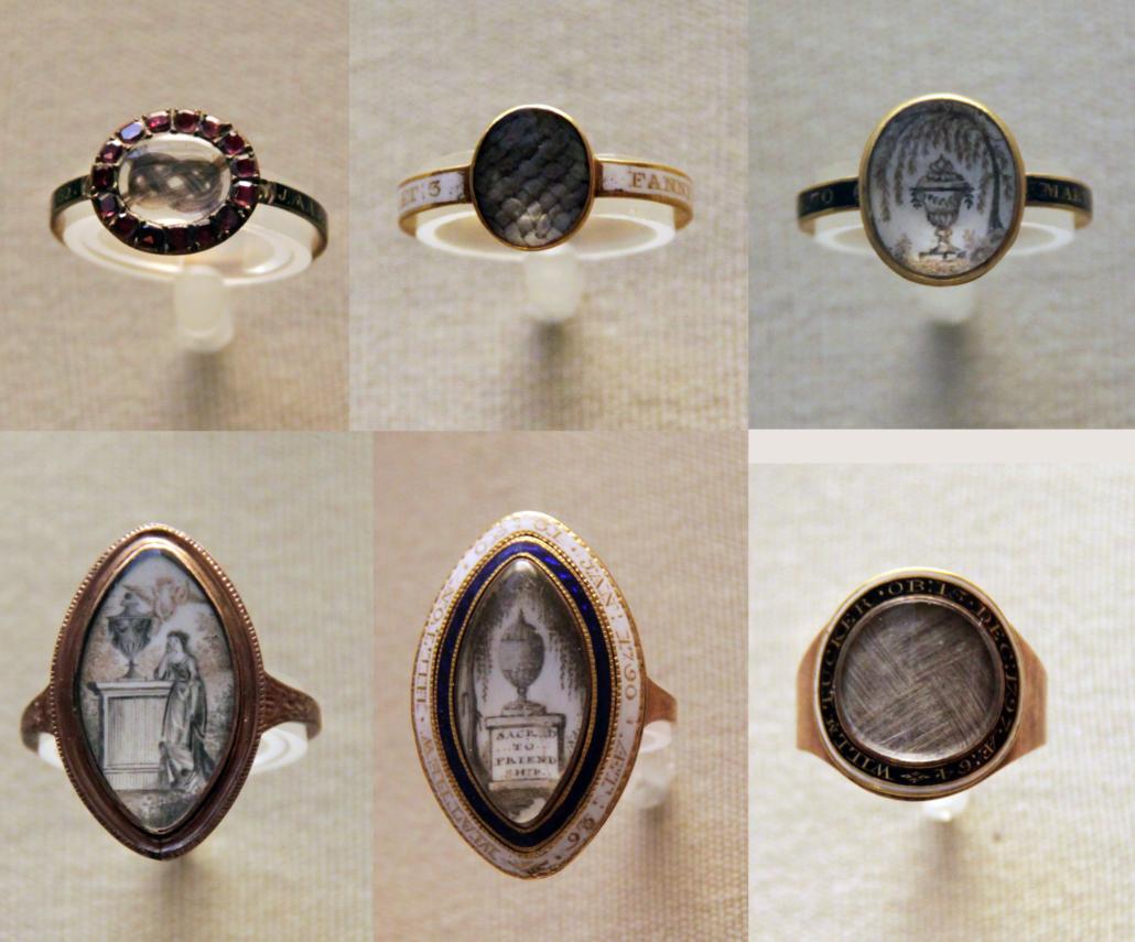 Haararbeiten, Fingerringe 18. Jahrhundert Schmuck
