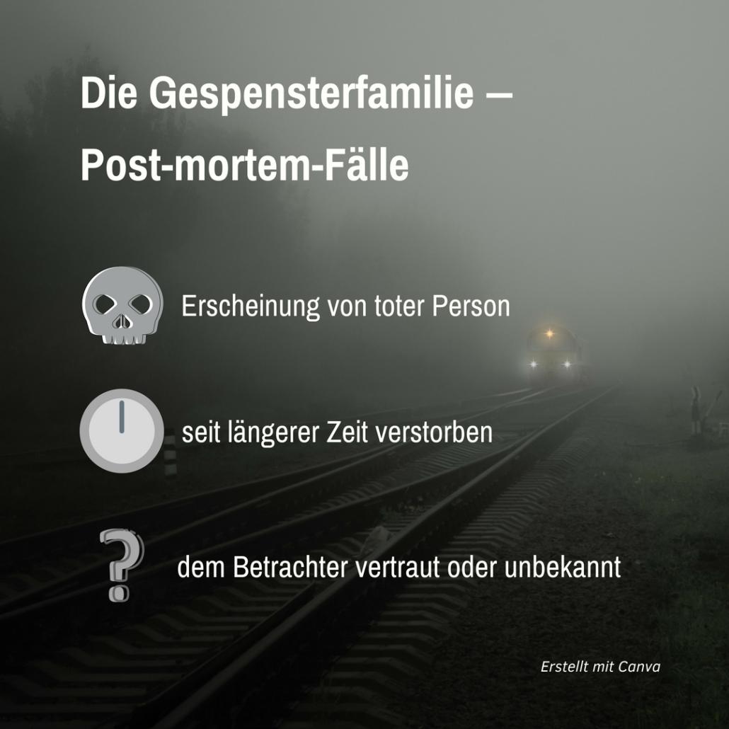 """Hintergrund: Bahngleise im Nebel; Vordergrund: Schriftzug mit Symbolen zu Erscheinungen: """"Post-mortem-Fälle"""""""