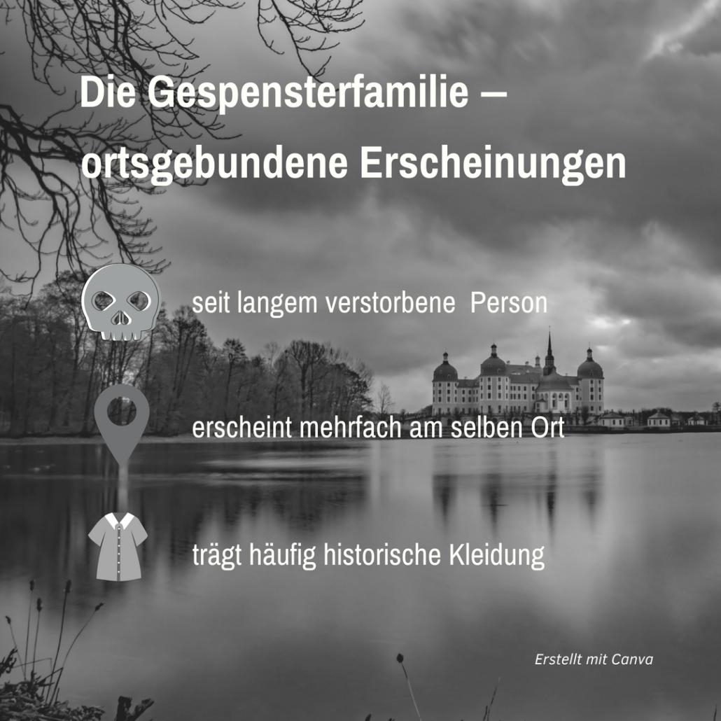 """Hintergrund: Schloss am See; Vordergrund: Schriftzug mit Symbolen zu Erscheinungen: """"ortsgebundene Erscheinungen"""""""