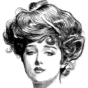 Gibson Girl Zeichnung des Künstlers Charles Dana Gibson