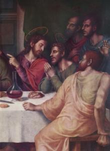 """Ausschnitt aus """"Das letzte Abendmahl"""" von Juan de Juanes"""
