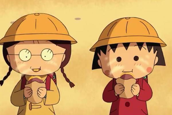 Maruko-Chan und ihre Freundin nach der Schule nach Hause