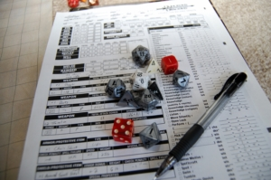 Dice and Character Sheet