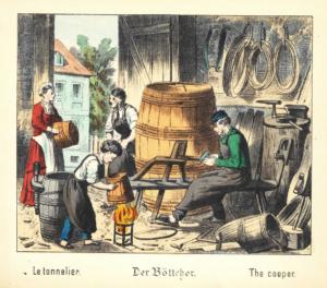 Historische Darstellung eines Böttchers aus: Was willst du werden? Bilder aus dem Handwerkerleben. Berlin : Winckelmann 1880