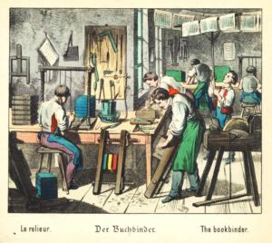 Historische Darstellung eines Buchbinders aus: Was willst du werden? Bilder aus dem Handwerkerleben. Berlin : Winckelmann 1880