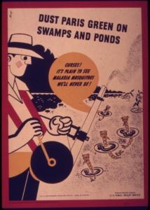 Das Plakat des US-Gesundheitsdienstes von 1943 empfiehlt Paris Grün (giftgrün) als das Insektizid, das auf Teiche und Sümpfe gesprüht werden sollte, um Malariamückenlarven zu bekämpfen © Public Domain