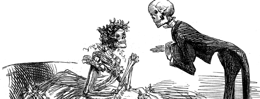 """Der """"Arsen-Walzer"""" wurde 1862 von dem Karikaturisten John Leech für die britische Zeitschrift """"Punch"""" geschaffen. Es zeigt zwei Skelette in Abendkleidern, die an der giftigen Farbe des Stoffes gestorben sind."""