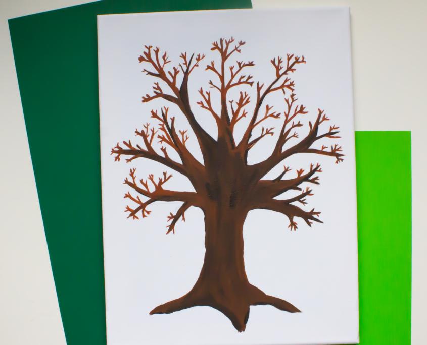 Collage Puzzlebaum Baumstamm malen