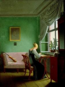 """Das Ölgemälde """"Embroidery woman"""" von Georg Friedrich Kersting aus dem Jahr 1817. Die leuchtend grünen Wände deuten auf die Verwendung von Giftgrün hin © Public Domain"""