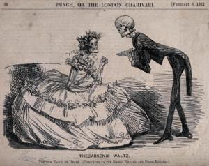 """""""The Arsenic Waltz"""" wurde 1862 von dem Karikaturisten Johna Leech für die britische Zeitschrift Namens Punch kreiert. Die Karikatur stellte ein männliches und ein weibliches Skelett in Abendkleidern dar, die durch ihre eigene Kleidung vergiftet wurden""""."""