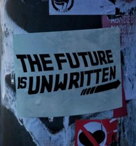 """Sticker mit der Aufschrift """"The Future is unwritten"""""""